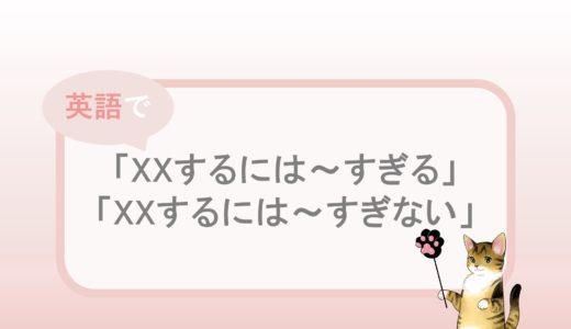 「XXするには~すぎる」「XXするには~すぎない」の英語表現と例文