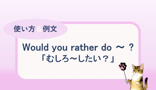 Would you rather do ~ ?「むしろ~したい?」の使い方と例文