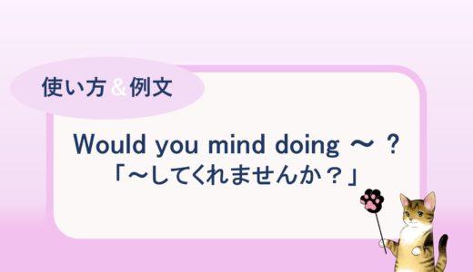 Would you mind doing ~ ?「~してくれませんか?」の使い方と例文