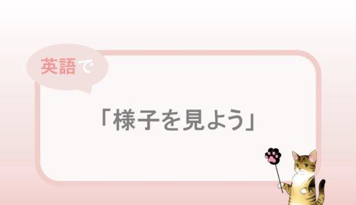 We'll see.「様子を見よう」という英語表現と例文